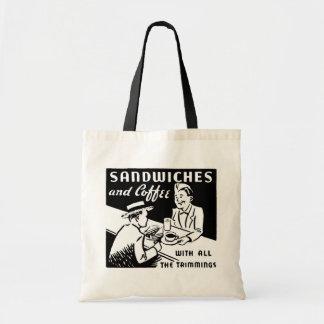 Bocadillos y café bolsa tela barata