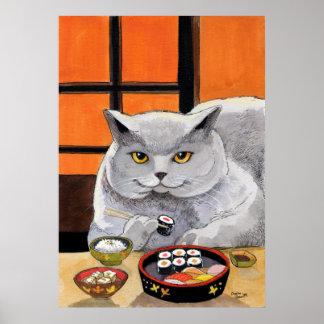 Bocado de la tarde posterior del gato del sushi póster