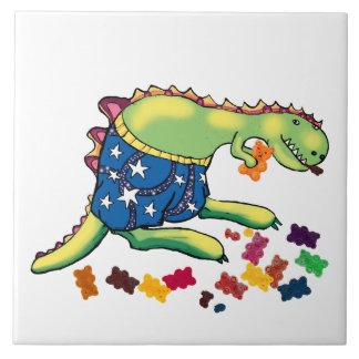 bocado de medianoche del dinosaurio azulejo cuadrado grande
