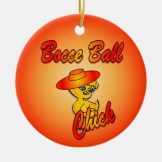 Bocce Ball Chick #5 Ceramic Ornament