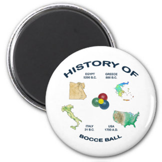 Bocce Ball History 2 Inch Round Magnet