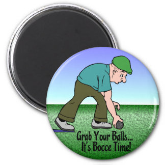 Bocce Time! 2 Inch Round Magnet