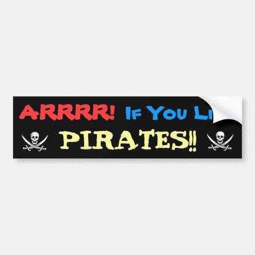 ¡Bocinazo para los piratas! Etiqueta De Parachoque