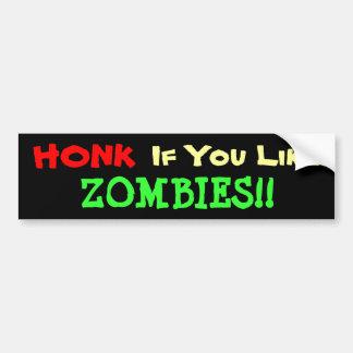 Bocinazo para los zombis etiqueta de parachoque