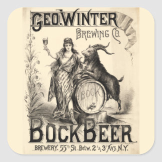Bock Beer Brewing Co Lager Vintage Retro Brewer Square Sticker