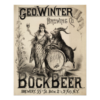 Bock Beer Brewing Co Vintage Antique Rustic Brewer Poster