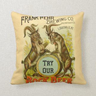 Bock Beer Goats Throw Pillow