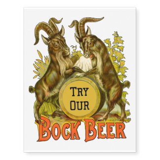 Bock Beer Goats Vintage Advertising Temporary Tattoos