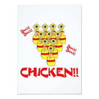 bock bock chicken funny scared bowling pins personalized invite