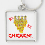 bock bock chicken funny scared bowling pins key chain