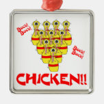 bock bock chicken funny scared bowling pins christmas ornaments