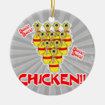 bock bock chicken funny scared bowling pins christmas tree ornaments