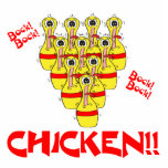 bock bock chicken funny scared bowling pins acrylic cut outs