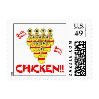 bock bock chicken funny scared bowling pins postage stamp