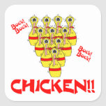 bock bock chicken funny scared bowling pins square stickers