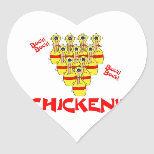 bock bock chicken funny scared bowling pins heart sticker