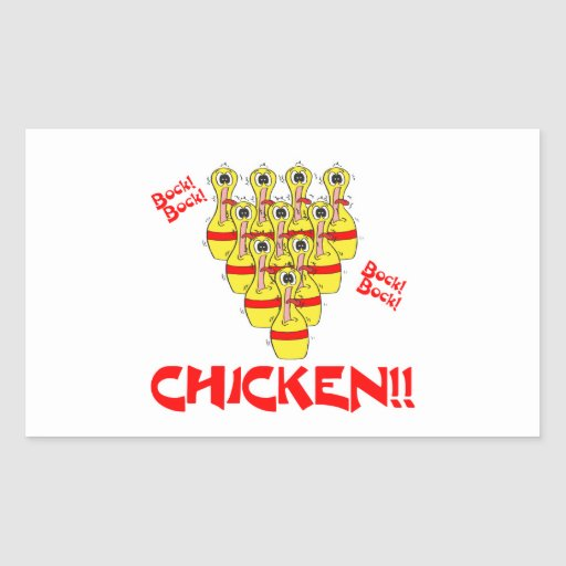 bock bock chicken funny scared bowling pins rectangle sticker
