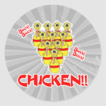 bock bock chicken funny scared bowling pins classic round sticker