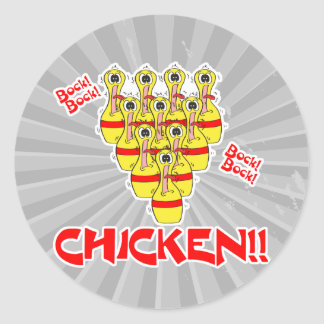 bock bock chicken funny scared bowling pins sticker