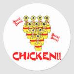 bock bock chicken funny scared bowling pins stickers