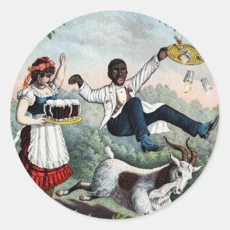 Bock, poster común de la publicidad de la cerveza, pegatina redonda