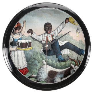 Bock, stock beer advertising poster, 1889 aquarium clock