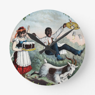 Bock, stock beer advertising poster, 1889 round wall clock
