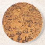 Bockoune's Map of Cape Breton, Nova Scotia (1758). Beverage Coasters