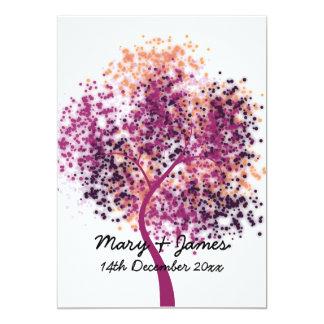 """boda 5x7 """"reserva árbol púrpura de la fecha"""" invitación 5"""" x 7"""""""