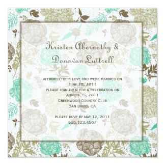 Boda abstracto floral verde oliva del poste del invitación 13,3 cm x 13,3cm