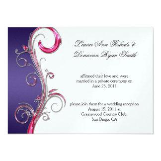 """Boda adornado de plata púrpura y rosado del poste invitación 5.5"""" x 7.5"""""""