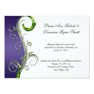 """Boda adornado de plata púrpura y verde del poste invitación 5.5"""" x 7.5"""""""