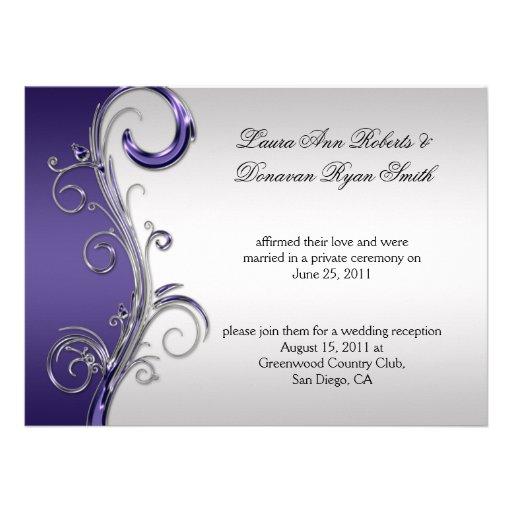Boda adornado púrpura y de plata del vintage del p anuncio