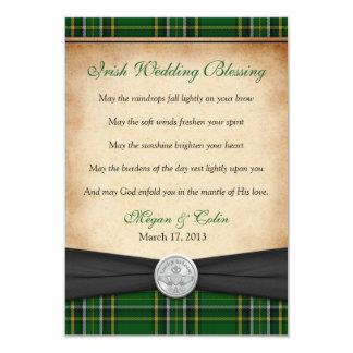 """Boda afortunado de Claddagh del tartán irlandés de Invitación 3.5"""" X 5"""""""