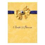 Boda amarillo de los azules marinos elegante comunicado personal