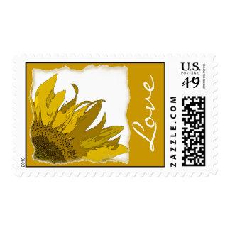 Boda amarillo del amor de la esquina del girasol sellos postales