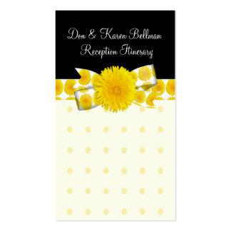 Boda amarillo del diente de león de la primavera tarjetas de visita