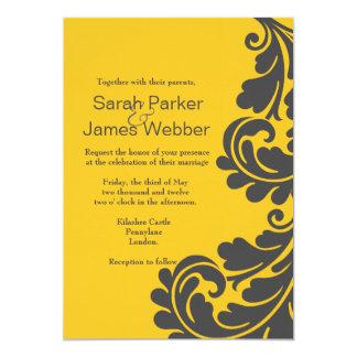 Boda amarillo gris pizarra y vibrante del damasco comunicados personales
