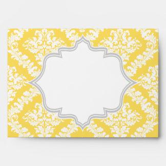 Boda amarillo limón, gris elegante del damasco sobres