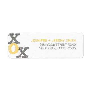 Boda amarillo y gris de XOX Etiquetas De Remite