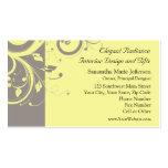 Boda amarillo y gris moderno del remolino tarjetas de negocios