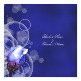 boda antiguo color de rosa azul de la fantasía del comunicados personalizados