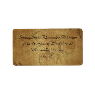 Boda antiguo del remolino de Teastain del vintage Etiquetas De Dirección