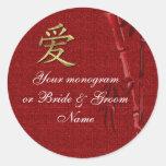 Boda asiático del AMOR de las etiquetas de la bote Pegatinas Redondas