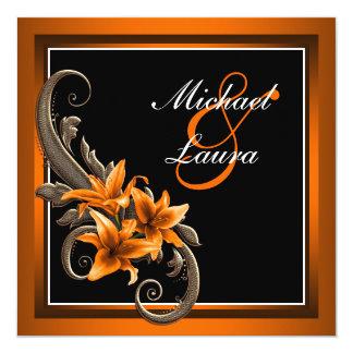 """Boda asiático negro y anaranjado elegante del invitación 5.25"""" x 5.25"""""""
