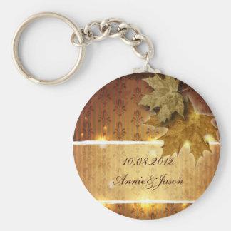 Boda atractivo de la caída de las hojas de oro del llaveros personalizados