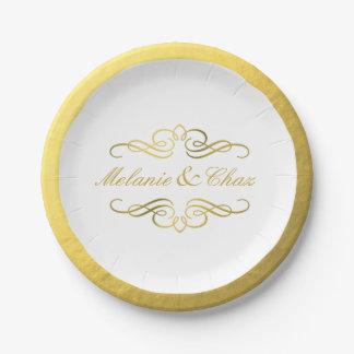 Boda atractivo del esquema de la hoja de oro del plato de papel 17,78 cm