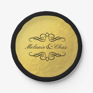 Boda atractivo del esquema de la hoja de oro del plato de papel de 7 pulgadas