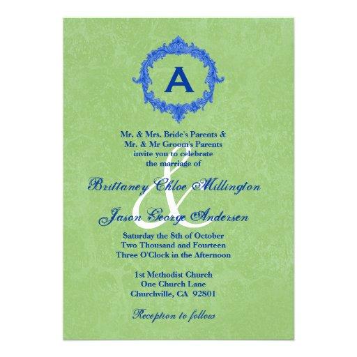 Boda azul antiguo del monograma de la textura del  invitaciones personales