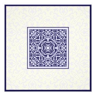 Boda azul árabe islámico del compromiso del orname invitación